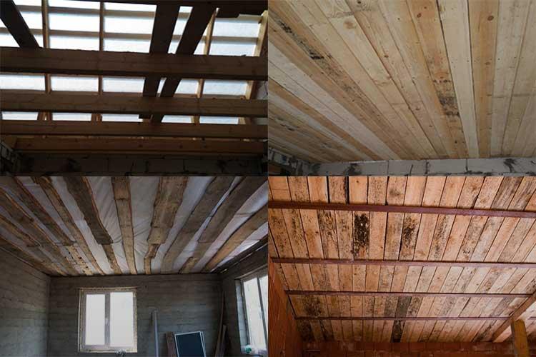 Потолок фанера по деревянным балкам