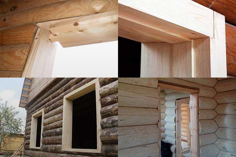 Коробка для окна в деревянном доме