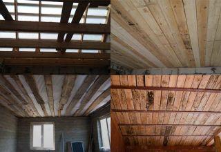 Как сделать черновой потолок по балкам из дерева