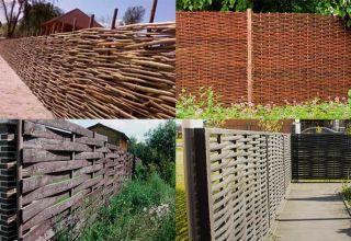 Украшение дачного участка самодельным плетеным забором