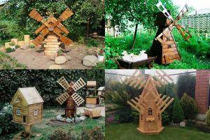 Украшение или функциональная постройка: деревянная мельница в саду