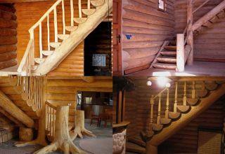 Оригинальная деревянная лестница из бревен