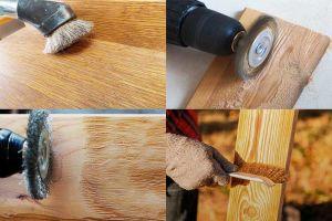 Браширование древесины нейлоновой щеткой на болгарке