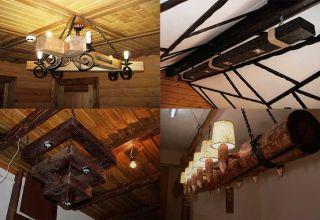 Самодельные люстры и светильники из дерева